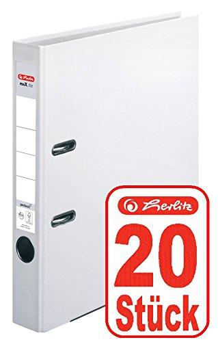 Herlitz Ordner maX.file protect A4 5cm, PP-Folienbezug beschichtet, mit Wechselfenster (weiß | 20er)