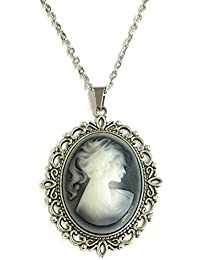 Collar + colgante camafeo Mujer con cola de caballo gris antiksilberfarben hecha a mano Necklace