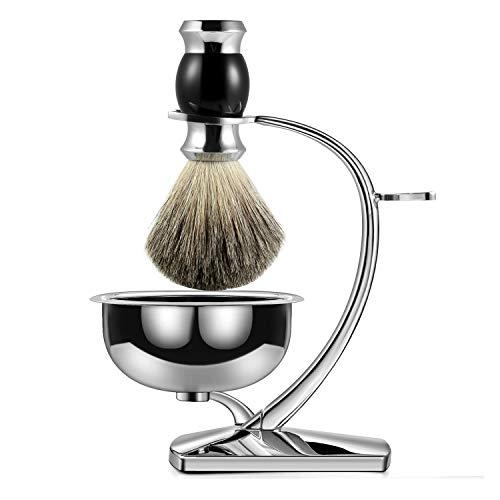 GRUTTI Premium Rasierpinsel Set , Luxus Pinselständer Seifenschale und Dachshaar Rasierpinsel Geschenk Rasiersets für Männer-Crescent Moon-MEHRWEG.