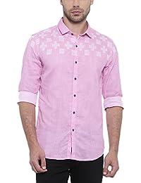 SHOWOFF Mens Pink Checkered Casual Shirt