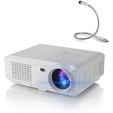 Proiettore a Led, Yokkao® 3600Lumens Videoproiettore 1280 x 800p Contrasto 10.000:1 Supporta AV/ USB/ HDMI/ VGA/ TV per Casa Ufficio Scuola
