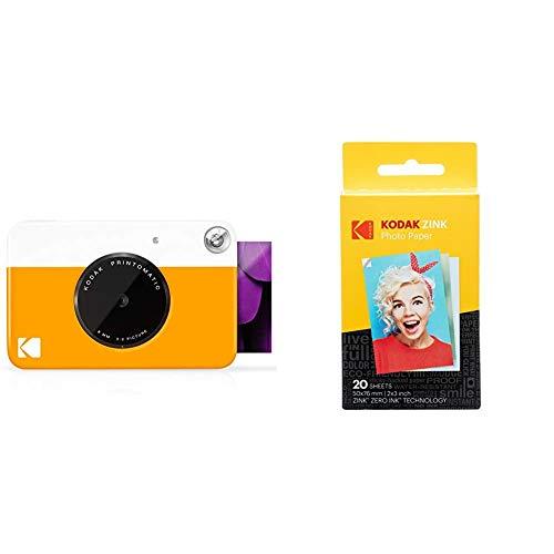 Oferta de Kodak PrintomaticCámara de impresión instantánea, Imprime en Papel Zink 5 x 7.6 cm con Respaldo Adhesivo, Amarillo + Papel Fotográfico Zink Premium de 2X3 Pulgadas (20 Hojas)