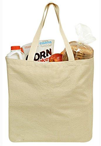wiederverwendbar Lebensmittels Leinwand Tasche, 48,3x 38,1cm–langlebig mit Double Stich und zwei stabile Schultergurte zu Griff schwere Lebensmittel. Canvas Tote Lebensmittels Taschen, einen umweltfreundlichen Lösung für Einkaufen. (Canvas Griff Tote)