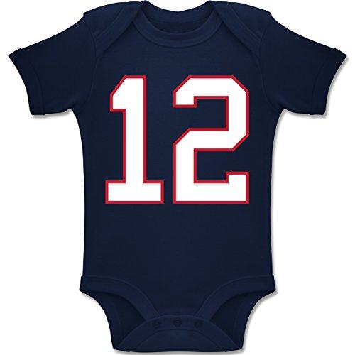 Sport Baby - Football New England 12-1/3 Monate - Navy Blau - BZ10 - Baby Body Kurzarm für Jungen und Mädchen