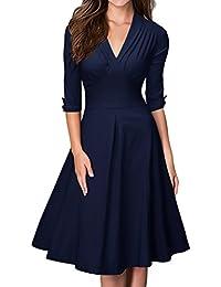 MIUSOL Damen Business retro 50er Jahre Kleid Rockabilly Stretch Cocktailkleid