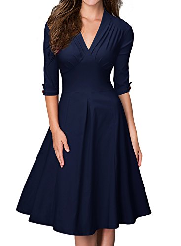 Falte Saum Rock (Miusol Damen 3/4 Arm Sommer Rockabilly Cocktailkleid Stretch Business Retro 50er Jahre Kleid Blau Groesse M)