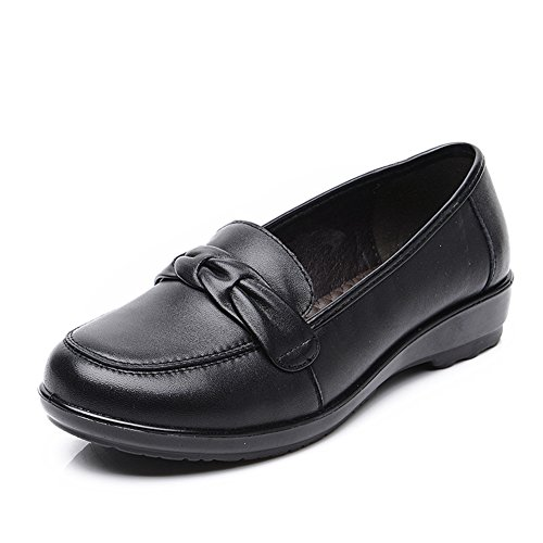 Grande taille chaussures de maman/Chaussures en cuir véritable/Chaussures plates avec doux vieux/Chaussures de femmes d'âge mûr/Chaussures femme A