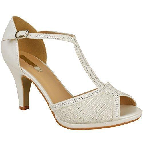 Donna scarpe da sposa ballo tacco alto diamante festa sandali taglia - bianco avorio simil pelle, 38