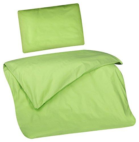 Aminata Kids Kinder-Bettwäsche 100-x-135 cm Uni-Farben EIN-farbig-e Baby-Bettwäsche 100-% Baumwolle Renforce Apfel-grün hell-grün Junge-n und Mädchen