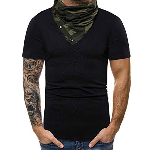 (POPLY Männer Mode Camouflage Rollkragen Splice Oberteile Herren Casual Sport Revers Kurzarm Hemd Creative Tops)