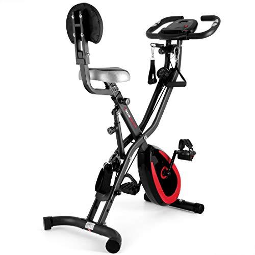 Ultrasport F-Bike 400BS Bicicleta estática Plegable, tracción, Pantalla y App, con Respaldo/Cuerdas & App, Unisex, Negro Mate