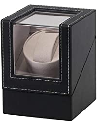 Womdee Watch Winder Box, Automatic Watch Winder With Quiet Motor, Leather Single Rotation Modes Watches For Men And Women (Black)