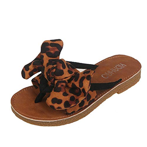 Frauen Leopard flip Flops Bogen Krawatte flachen Clip zehen Schuhe t Riemen Post strgen Sandalen Outdoor Freizeit Strandschuhe -