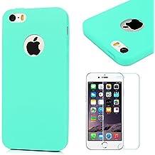 Funda iPhone SE, iPhone 5S Carcasa Silicona Gel Mate + Vidrio Templado Protector de Pantalla - Mavis's Diary Case Ultra Delgado TPU Goma Flexible Cover para iPhone 5/5S/SE - verde menta