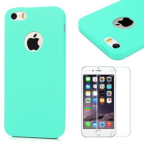 iPhone 5s Funda Silicona Azul,iPhone 5/5s/SE Case Carcasa Gel TPU - Mavis's Diary Suave Bumper Shock-Absorción y Anti-Arañazos para iPhone 5 /iPhone SE + Un Protector Cristal Templado de
