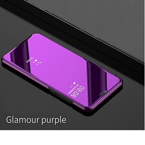 Sycode Luxe Screen Protector Rose Rouge Slim Fit Transparente Standing View Miroir Portefeuille Housse Coque pour Huawei P10