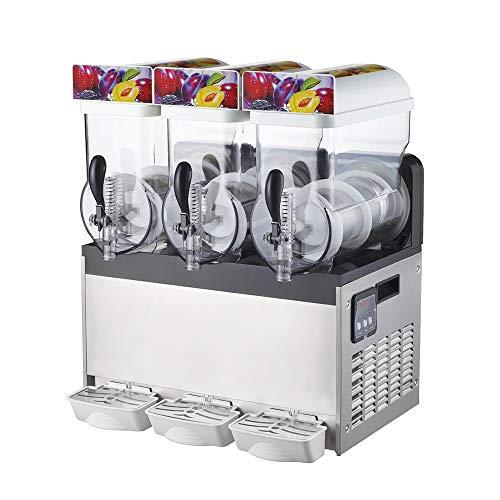 15L x 3 Tank kommerzielle slushy Maschine, 220V 1000W Edelstahl, Smoothie gefrorene Trinkmaschine, geeignet perfekt für Eissaft Tee Kaffee machen 15L x 3 Tank