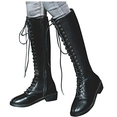 Hohe Stiefel Damen High Heels Sockenstiefel Winterstiefel mit Schnürung, Frauen Langschaftstiefel Lang Boots Elegante Schuhe Winter Warme Damenschuhe Celucke (Schwarz, 43 EU)