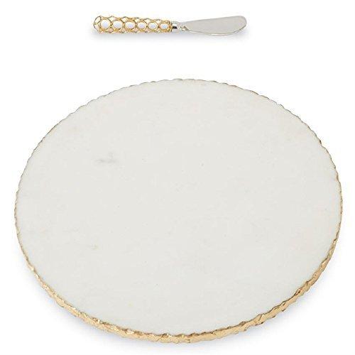 Mud Pie 4755024 Servierbrett Gold Edge Marmor, Einheitsgröße, weiß