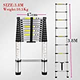 REAL HOMES Portable and Compact 13-Steps Telescopic Foldable Aluminium Ladder for Household and Outdoor Purpose (380 cm/12.5 ft)