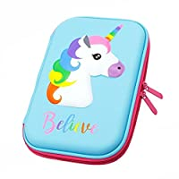 SEALEN Pencil Case, Unicorn Pen Pouch Stationery Box,Large Cute ColoredPencil Holderwith Compartments for School Students Girls Teens Kids (Blue)