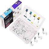 Kabelschelle Nagelschelle weiß Kabel Nagel SAMHUE 400 stück Größen 4mm 6mm 8mm 10mm,Mit tragbarer PP Box (je Größe 100 Stück)