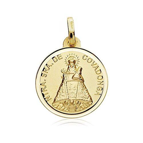 Medalla Oro 18K Virgen Covadonga 18mm. Bisel [Ab8986Gr] - Personalizable - Grabación Incluida En El Precio