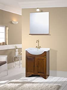 Mobile da bagno classico in legno con lavabo arte povera for Amazon arredo bagno