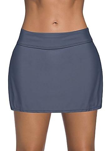 Dolamen Women Swim Skirt Shorts, Ladies Girls Swimwear Bottoms with Brief Short Skirted Mini Bikini Swimming Costumes Swimsuit Beachwear (XXX-Large, Gray)