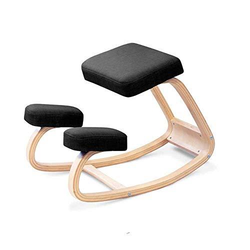 Z@SS Ergonomischer Kniestuhl,Balancing Posture Korrektur von Holzhocker für Büro & Zuhause | Rocking Kniesitz mit Kissen,Black -
