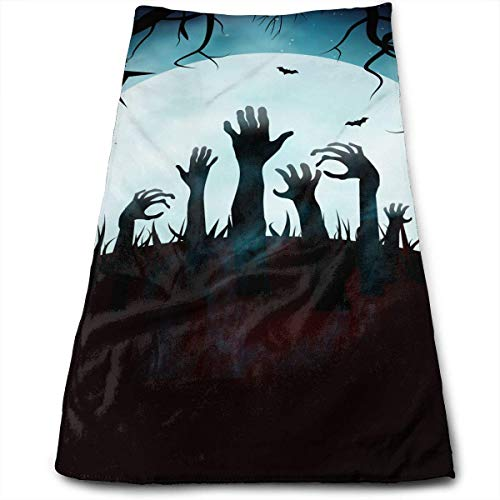 DAICHAI Happy Halloween Zombie Cemetery Face Hand Towels Microfiber Sport Towels for Sports, Hair Care, Cosmetology, Cleaning 27.5 X 12 Inch.