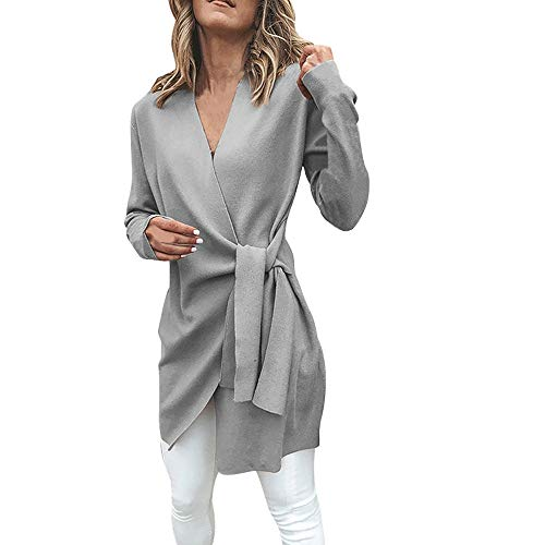 WWricotta Women Casual Leather Tied Up V Neck Open Front Suit Jacket  Outwear Overcoat Coat( 4961859bc0