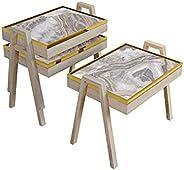 طقم طاولات مستطيلة الشكل بحواف ذهبية VP2