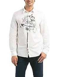 DESIGUAL 57C12C6-1000 Herren Langarm Freizeithemd, Hemd, Kent-Kragen, Regular Fit, CAM CSTR 10, blanco weiss
