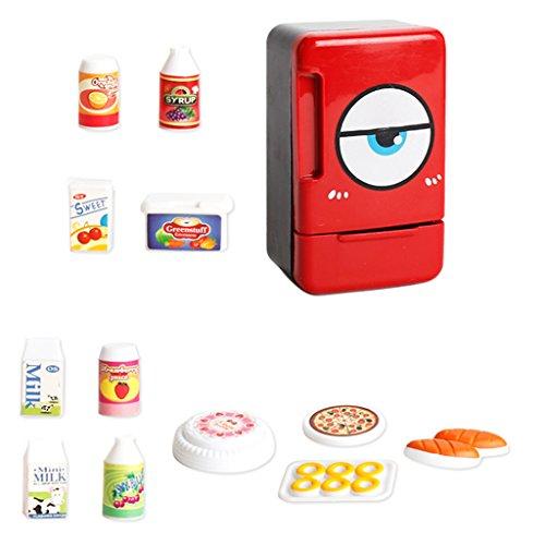 Homyl Kinder Küchen Elektrogeräte Geschirr Rollenspielzeug - Mini Kühlschrank / Elektroherd / Wasserkocher / Kochgeschirr / Mikrowelle / Staubsauger / Waschmaschine / Entsafter Kinderspielzeug - Kühlschrank