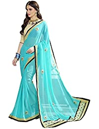 Pramukh Suppliers Georgette Saree With Blouse Piece (_Blue_Free Size)