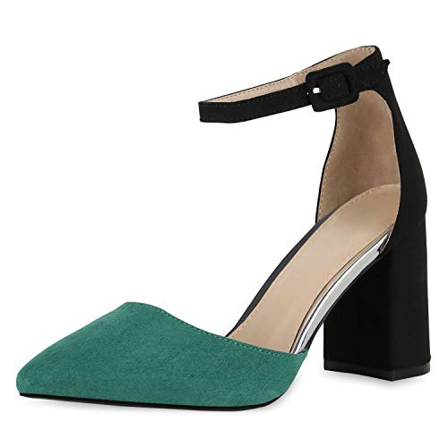 SCARPE VITA Damen Spitze Pumps Chunky High Heels Blockabsatz Party Schuhe 174793 Grün 40 -