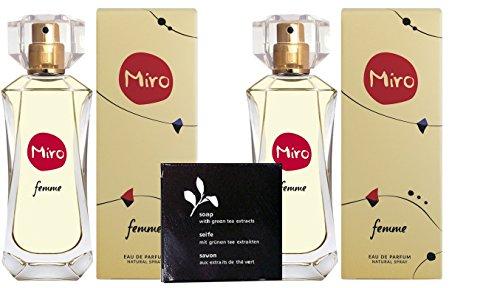 2 x MIRO FEMME Eau de Parfum Spray 50 ml (100 ml) + Seife 20 gr. mit grünen Tee Extrakten