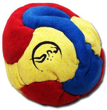 Profi Footbag 6 Paneelen (Blau/Gelb/Rot) Pro Freestyle Footbag! Hacky Sack für Anfänger und Profis, ideal für Stände, Fänge, Verzögerungen u. Tritte!