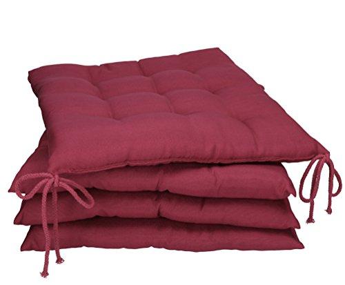 Betz Stuhlkissen Sitzkissen mit Bindebändern Holiday 40x40 cm Menge 4 Stück Farbe Beere