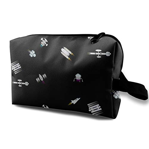 61d3c1d212d Rocket Ship Pattern On Black Women's Travel Cosmetic Bag Small Cosmetic Bag  Handbag