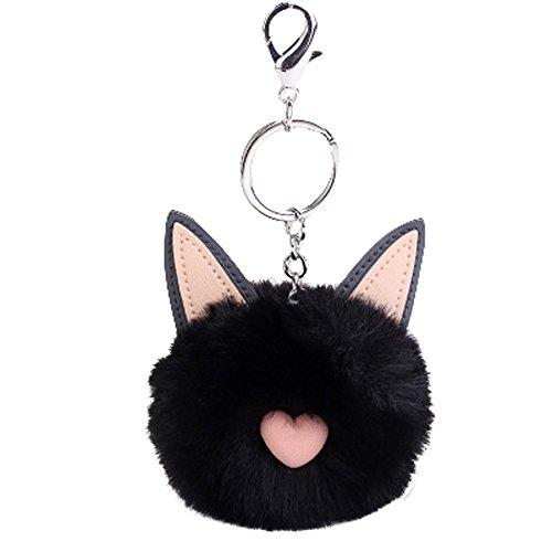 OSYARD Schlüsselanhänger,Keychain,8 cm Nette Katze Ohren Keyring Damen Autoschlüssel Rucksäcke Taschen Anhänger Zubehör Frauen Schlüsselringe Pompoms Schlüssel Ring Handtaschenanhänger -