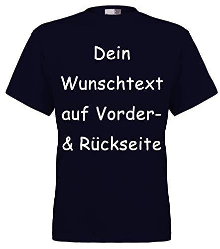 FLOCKex Marken T-Shirt mit Wunschtext - Front- und Rückenprint - Navy XL - Sprüche indivduell auf Das T-Shirt Drucken Lassen | Personalisierter Textildruck (Ich Liebe Dich-t-shirt)