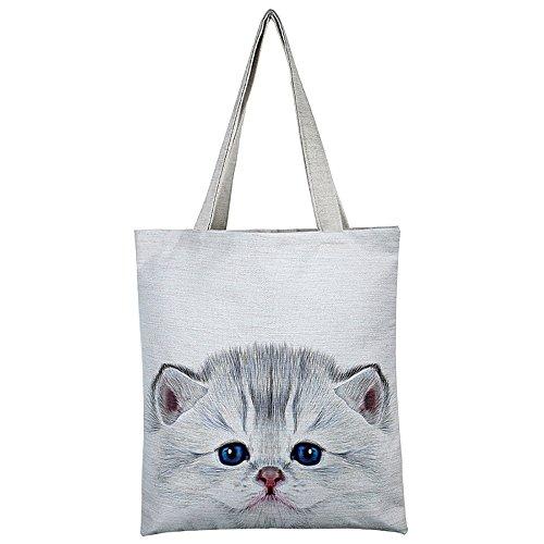 Borsa Shopping Fmedia per Donne con gatto Borsa Shopper per la Spesa Riutilizzabile �?Regalo per Amanti dei Gatti bianca 2