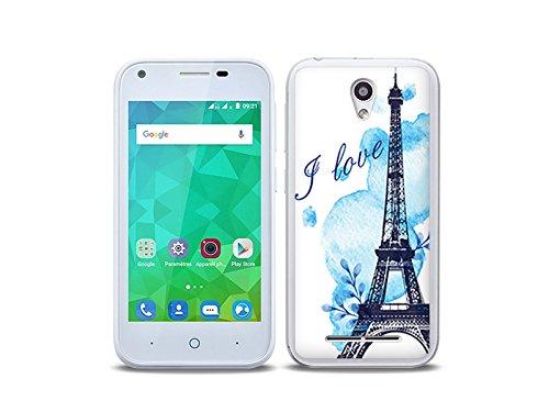 etuo Handyhülle für ZTE Blade L110 - Hülle Fantastic Case - Blauer Eiffelturm - Handyhülle Schutzhülle Etui Case Cover Tasche für Handy
