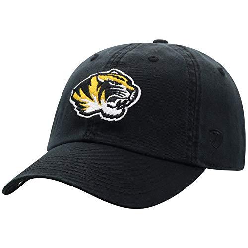 Top of the World NCAA Herren Baseballmütze, Relaxed Fit, größenverstellbar, Herren, Relaxed Fit Adjustable Hat Team Color Primary Icon, Missouri Tigers Black, Einstellbar