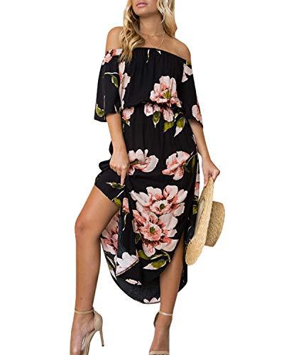 YOINS Femme Été Chic Robes Longues Imprimé Florale Longue Robe Élégante Long Dress Col V Robe De Soirée Épaules Nus,A-noir,EU 44(Large)