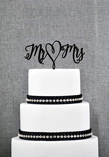 Mr & Mrs T139 Tortenaufsatz mit Herzschrift und eleganter Hochzeitstortenaufsatz in Wunschfarbe