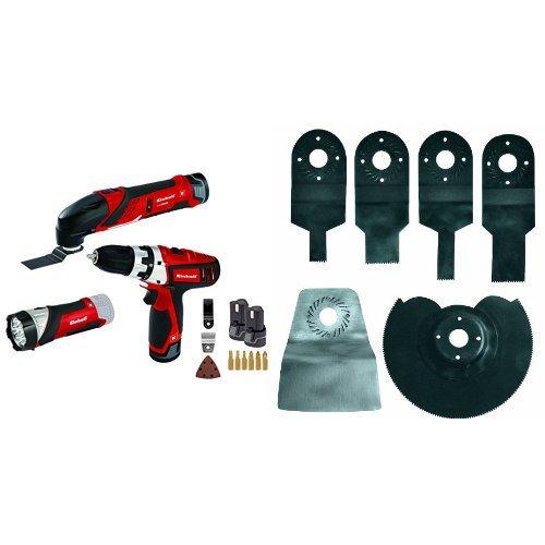 Einhell Set de herramientas TE-TK 12 Li (12 V, 2 x batería de iones de litio, cargador, taladro con puntas, herramienta multifunción con hojas de lija y sierra, lámpara LED) + BTMG180SET - Set de cuchillas básico para herramienta multifunción