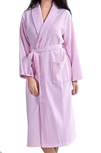 Besweeton Waffle Bathrobes Robe Frauen Mens Kimono Sleepwear Nightgown Lightgown Lace-Spa rosa M